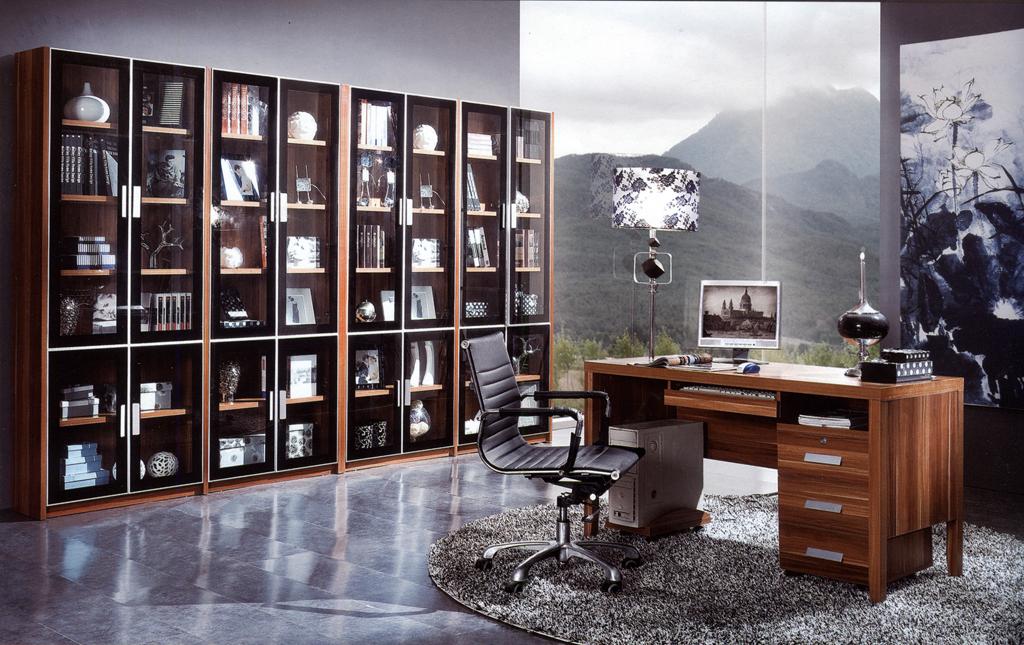 电脑桌面书柜一体